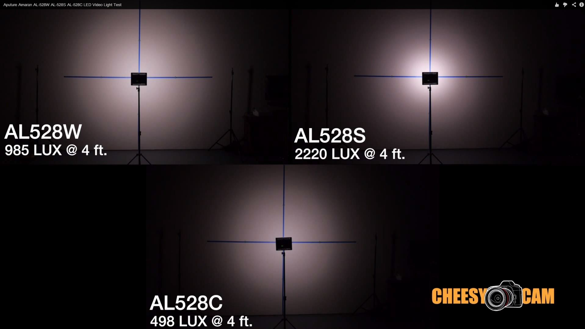 Aputure Amaran AL-528W AL-528S AL-528C LED Video Light Test_Cheesycam